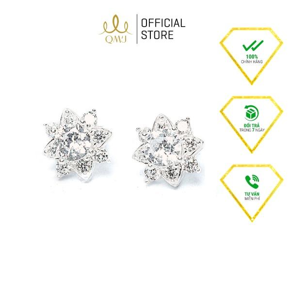 QMJ Bông tai bạc hoa hải liên duyên dáng nạm đá tấm sáng phù hợp với cô nàng thích trang sức đẹp - QKL1830