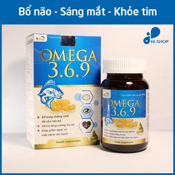 Viên uống dầu cá Omega 369 Bổ não, Sáng mắt, Khỏe tim mạch cho người từ 6 tuổi HSD 2023 - Hộp 60 viên Omega 1000mg, EPA 180mg, DHA 120mg giá rẻ