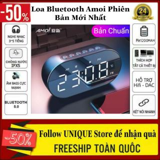 Loa Bluetooth Amoi Kiêm Đồng Hồ Phiên Bản Mới Nhất Kiêm Đồng Hồ Báo Thức, Đèn Ngủ, Nhiệt Kế Đo Phòng, Mặt Loa Tráng Gương - Loa Bluetooth Không Dây, Loa Đồng Hồ Bluetooth Pin Trâu thumbnail