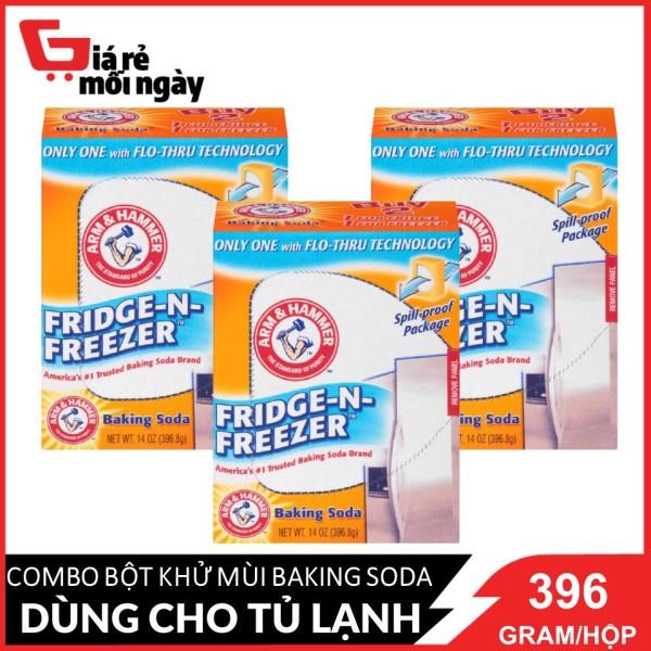 [HCM][Made in USA] COMBO 3 Bột Khử Mùi Tủ Lạnh Baking Soda Arm&Hammer Fridge-N-Freeze 396.8g/hộpx3
