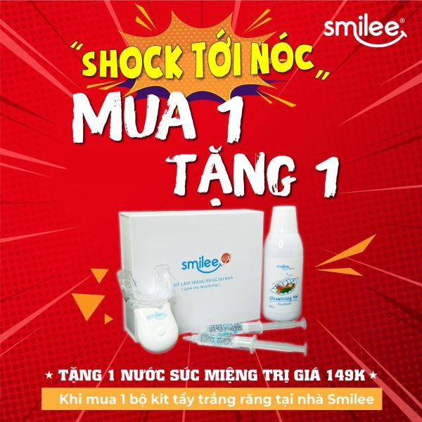 [Tặng nước súc miệng Smilee+Freeship+Giảm 25%] Bộ kit tẩy trắng răng tại nhà Smilee-Nhập khẩu USA-ISO 22716 - 2007 giá rẻ