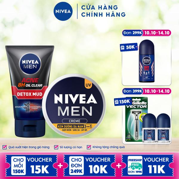 Combo NIVEA MEN chăm sóc da cho nam Sữa rửa mặt Detox Bùn khoáng giảm mụn (100g) - 83940 & Kem dưỡng da 3in1 giúp sáng da cấp ẩm (30g) - 83923