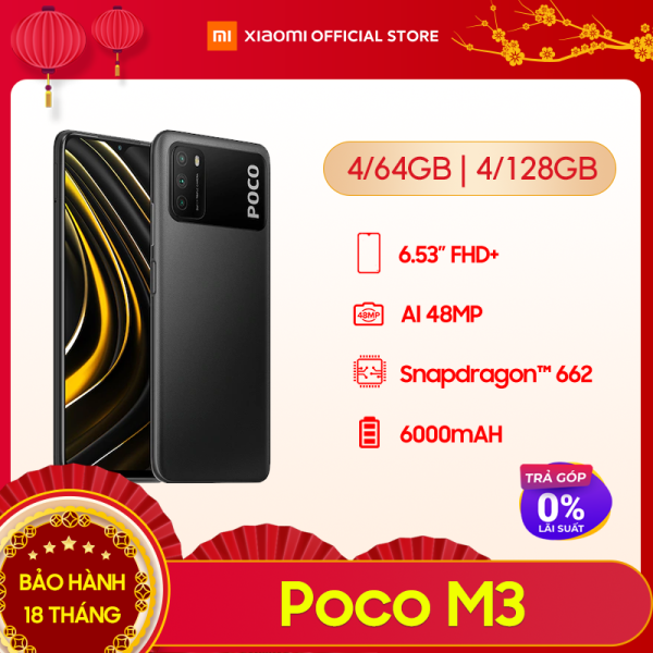 [XIAOMI OFFICIAL] Điện thoại POCO M3 4GB/64GB | 4GB/128GB - Chip Snapdragon 662, Màn hình 6.53, Pin 6,000mAH, Sạc nhanh 18W, Camera sau 48MP, Android 10, MIUI 12 - BH Chính hãng 18 tháng