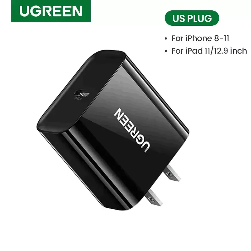 UGREEN 18W USB C Power Delivery Charger for Huawei Matepad Quick Charge Mobile Phone Charger for Samsung, iPhone 11 iPad Pro 2018, Huawei Fast 9V2A PD Charger