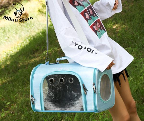 Túi chó mèo thời trang, 3 lối thông khí cho thứ cưng, chất liệu vải bóng trơn, nhiều màu sắc bắt mắt