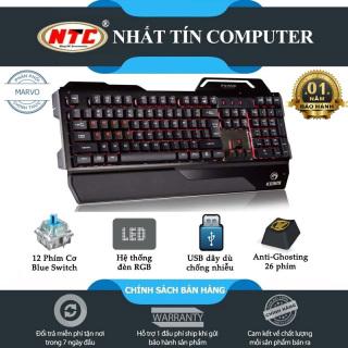 [HCM]Bàn phím bán cơ Marvo KG929 led RGB - 12 phím cơ blue switch chuyên game (Đen) - Nhất Tín Computer thumbnail