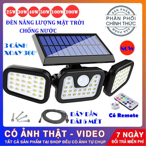 (Tặng Remote , Dây dẫn dài 5 mét ) Đèn năng lượng mặt trời 80w solar light , đèn năng lượng chống nước , đèn năng lượng mặt trời cảm biến sáng tối , đèn led siêu sáng