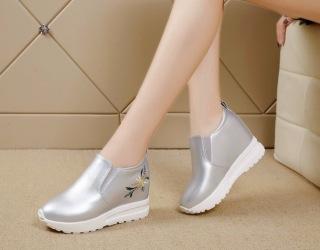 Giày Slip on độn 7p siêu mềm siêu nhẹ màu bạc thumbnail