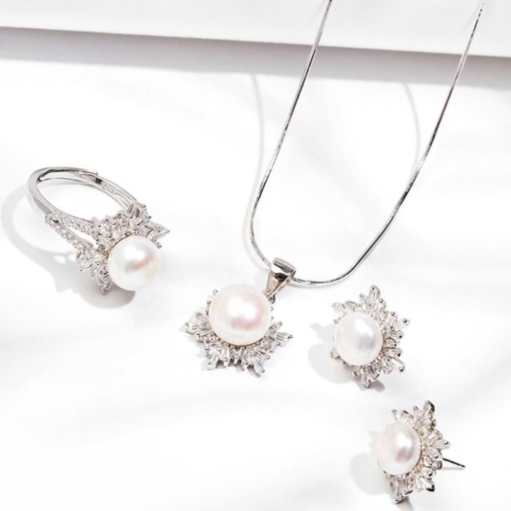 Bộ trang sức bông tuyết ngọc trai trắng bạc Italy