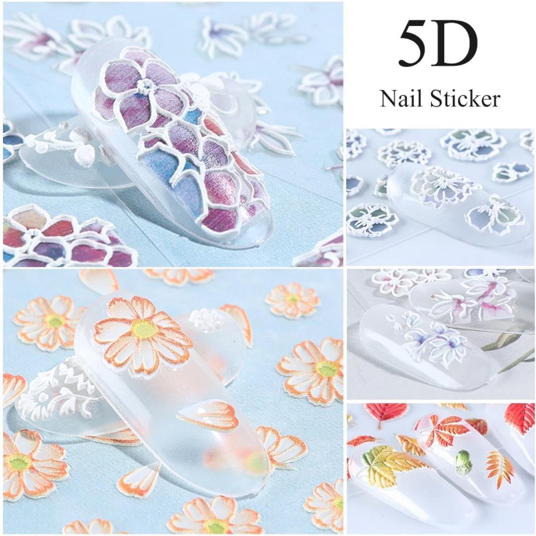Bông nổi 5D nail sticker dán trang trí móng dập nổi công nghệ mới hoa to rõ nét FDT11-FDT20