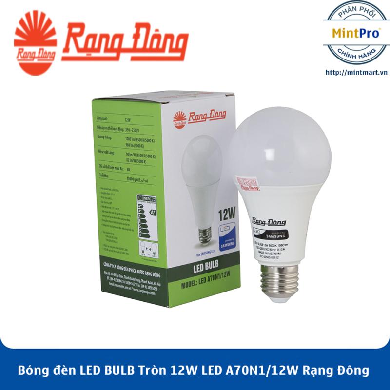 Bóng đèn LED BULB Tròn 12W LED A70N1/12W Rạng Đông - Hàng Chính Hãng