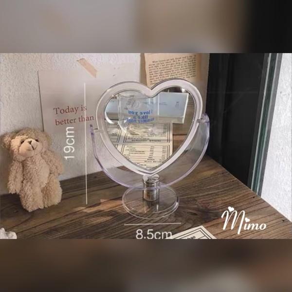 Gương trang điểm để bàn trong suốt 2 mặt gương xoay 360 độ hình trái tim thiết kế sang chảnh phong cách Hàn quốc giá rẻ