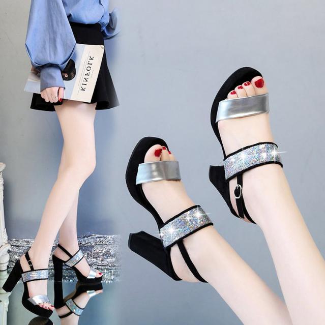 Giày Cao Gót Nữ Quai Nhũ Kim Sa Ánh Bạc Sang Trọng - CG727 giá rẻ