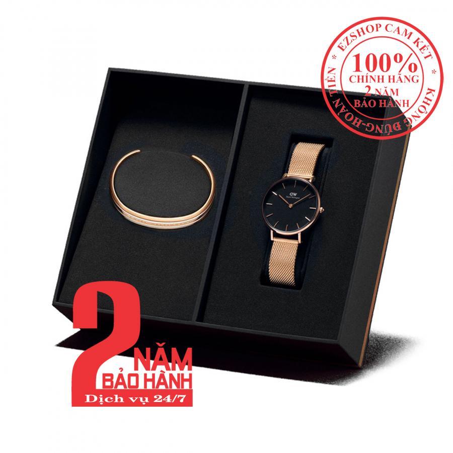 Nơi bán [mẫu mới] Hộp quà đồng hồ nữ Daniel Wellington Petite Melrose 32mm + Vòng tay Daniel Wellington Bracelet - màu vàng hồng (Rose Gold) - DW00500132