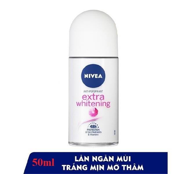 (HSD 2023 - 50ml) Lăn ngăn mùi NIVEA Extra Whitening trắng mịn mờ vết thâm