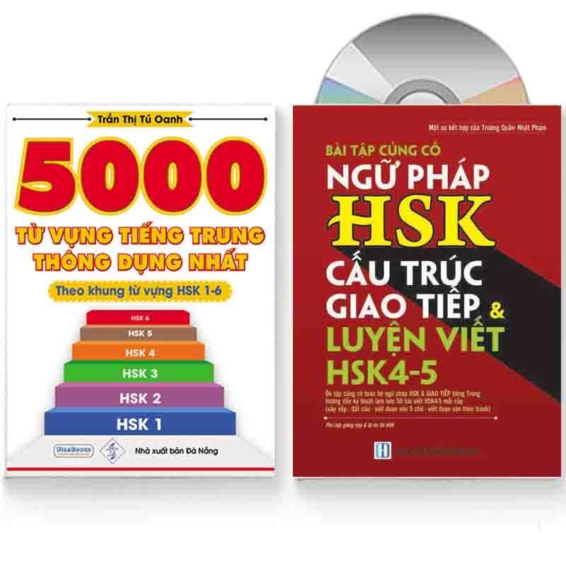 Sách - Combo: 5000 từ vựng tiếng Trung thông dụng nhất + Bài Tập Củng Cố Ngữ Pháp – Cấu Trúc Giao Tiếp & Luyện Viết HSK