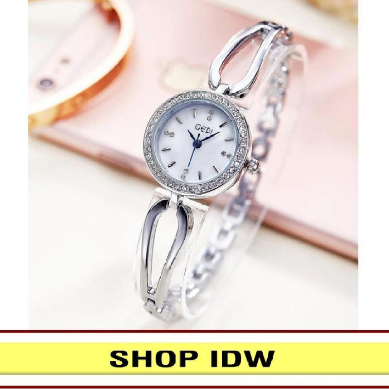 [Có video quay thật] Đồng hồ nữ dây kim loại thời trang Gedi IDW 7201 (Trắng)