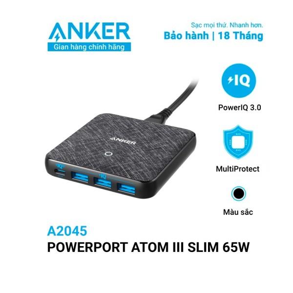 Sạc ANKER 4 cổng PowerPort Atom III Slim 65w PIQ 3.0&GaN - A2045 BH 18 tháng Anker Việt Nam