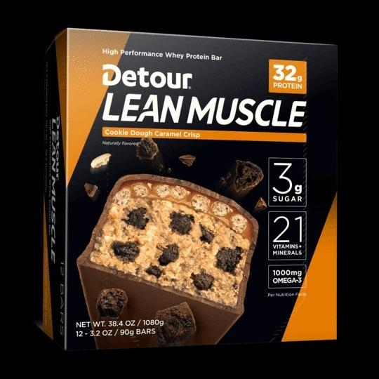 Bánh Protein Bar  Detour Lean Muscle  12 bars x 90g : 32g Protein, 21 Vitamin,1000mg Omega-3