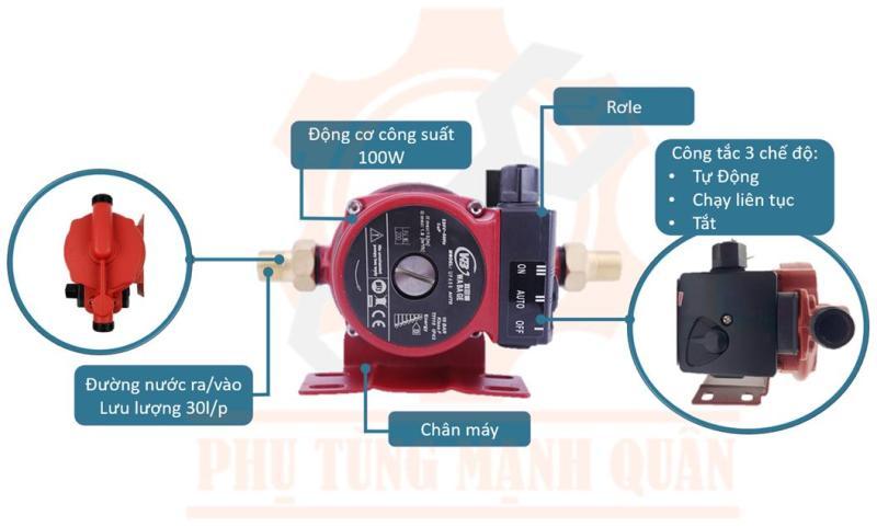 Máy bơm tăng áp tự động PERONI Ý cho dòng nước yếu, nhà WC, bình nóng lạnh, máy giặt công suất 100w