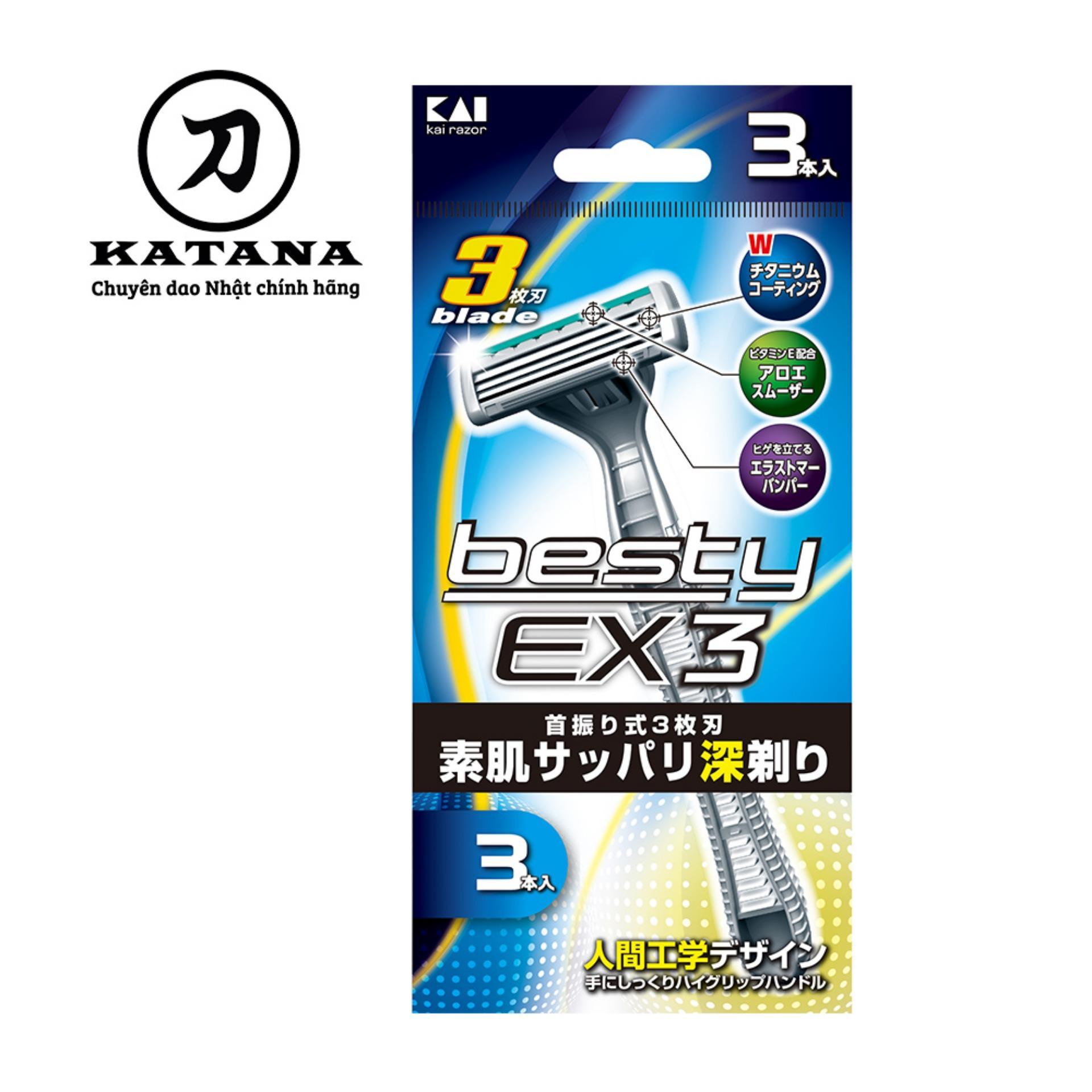 Dao cạo râu Nhật Bản 3 lưỡi Besty EX3 ( gói 3 chiếc) tốt nhất