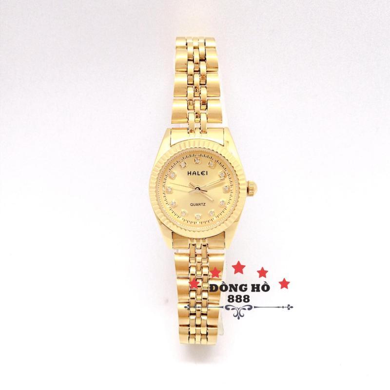 Đồng hồ nữ HALEI dây kim loại thời thượng ( HL356 dây vàng mặt vàng ) - TẶNG 1 vòng tỳ hưu phong thuỷ