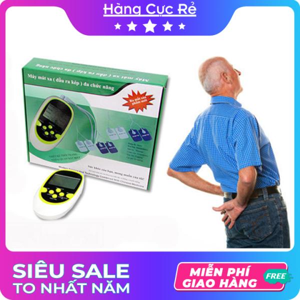 Máy massage trị liệu xung điện 8 miếng dán đầu ra kép đa chức năng – Trọn bộ sản phẩm gồm 1 máy mát xa, 3 viên pin AAA, 8 miếng dán, 1 dây sạc, 1 cốc sạc, 2 dây truyền, 1 hộp đựng, 1 sách HDSD - Shop Hàng Cực Rẻ nhập khẩu