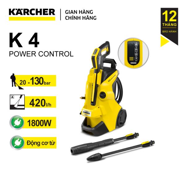 (Sản xuất Ý) Máy phun rửa áp lực cao Karcher K 4 Power Control động cơ từ, công suất 1800W và áp lực đến 130 bar, dây áp lực dài 8 mét (dòng sản phẩm mới 2021 cải tiến của dòng k4 full control cũ)