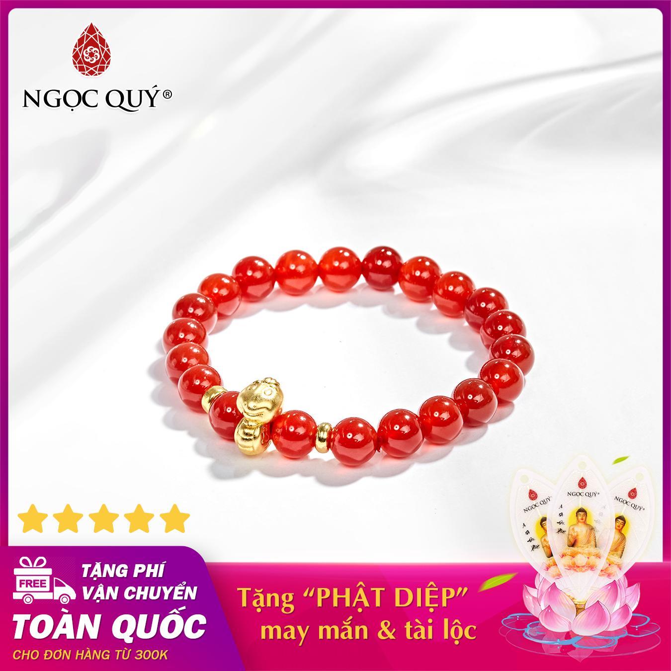 Vòng tay phong thủy đá mã não đỏ charm tuổi tỵ bạc mạ vàng 24k 8mm mệnh hỏa , thổ - Ngọc Quý Gemstones