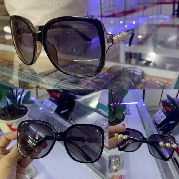 Giá bán Kính mát thời trang nữ from vuông gọng đính ngọc trai siêu đẹp, mắt kính Minh Hiệu