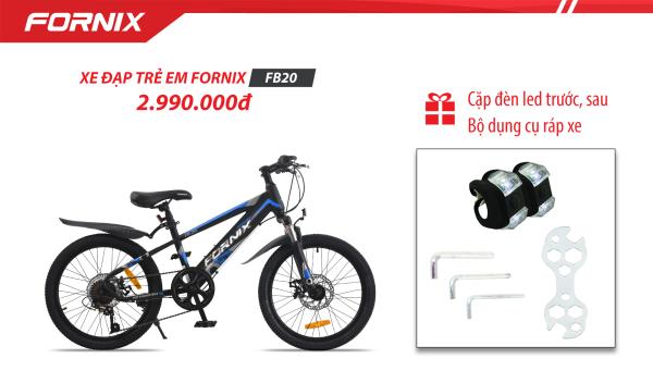 Mua Xe đạp địa hình trẻ em thể thao Fornix FB20 (Kèm bộ dụng cụ lắp ráp- Bảo hành 12 tháng + Tặng Cặp đèn trước sau