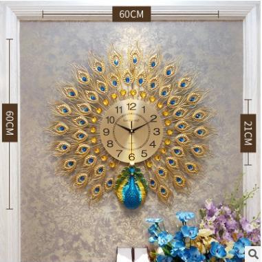 Nơi bán Đồng hồ trang trí chim công 60cmx60cm,Đồng hồ treo tường con công đường kính 60cm
