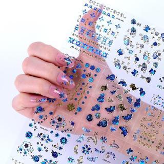 Set 10 tấm decal dán móng (khoảng 30 hình tấm) - sticker trang trí móng nail màu xanh nhũ siêu đẹp - tự làm móng tại nhà đơn giản, dán móng tay 3D, miếng dán trang trí móng tay nghệ thuật, nails wraps, dán móng tay giả, phụ kiện nail thumbnail