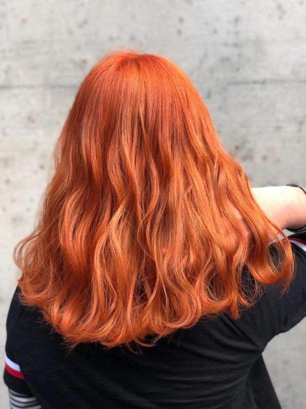 Thuốc nhuộm tóc màu Cam đào + Tặng trợ nhuộm, gang tay giá rẻ