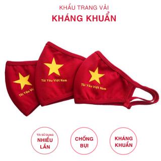 Khẩu trang vải Cotton 3 lớp kháng khuẩn mã cờ đỏ sao vàng TF4 FREESHIP họa tiết Việt Nam Đẩy Lùi Covit chống nắng, bụi đẹp Deal 1k thumbnail
