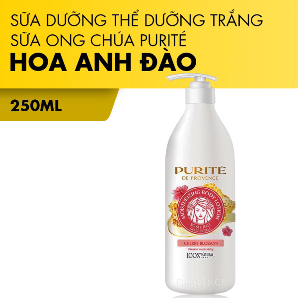Sữa Dưỡng Thể Dưỡng Trắng Da PURITÉ Sữa Ong Chúa Hương Hoa Anh Đào 250ml