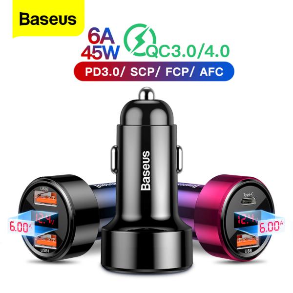 Baseus Car Charger Sạc PD Nhanh 6A 45W USB Kép QC4.0 QC3.0, Điện Thoại Di Động Cho iPhone Xiaomi Samsung Oppo