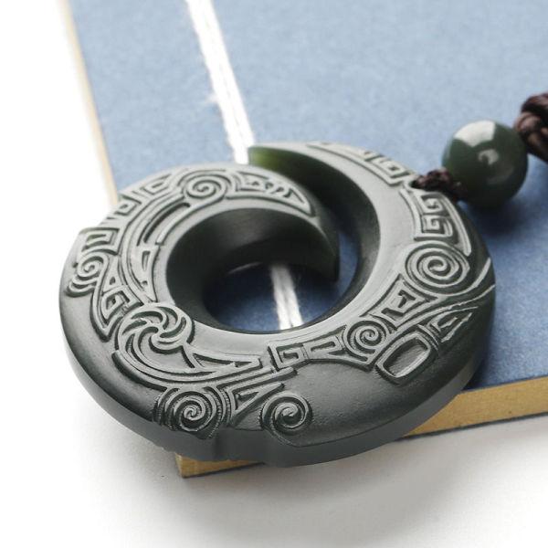Jadeware Bích Hetian Shangpin ngọc ngọc mặt dây chuyền tiền mặt chu kỳ chạy an toàn Khóa Ngọc Mặt dây chuyền cho nam và ZNQB