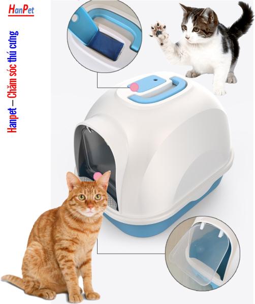 HN HP- Nhà vệ sinh cho mèo Size lớn (có 4 loại ) tặng kèm xẻng (màu ngẫu nhiên) - nha ve sinh meo - khay đựng cát mèo - cat ve sinh meo - hop dung cat meo - nha meo - long meo -