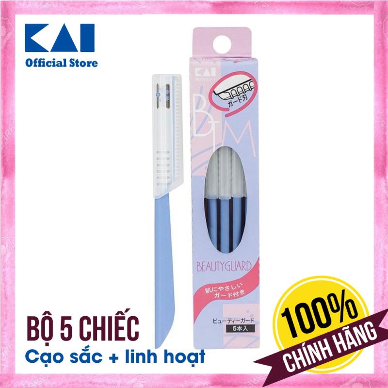 Set 5 dao cạo lông mày KAI có lớp bảo vệ hàng Nhật Bản (màu xanh)   Dao cạo lông cho nữ Disposable BTMG-5F   Gian hàng chính hãng