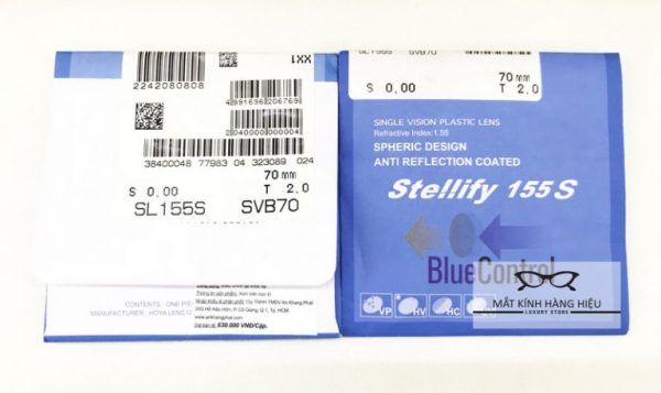 Giá bán Tròng kính Lọc Ánh sáng xanh Hoya Stellify Blue Control, chính hãng Hoya của Nhật ( chiết xuất 1.56 )