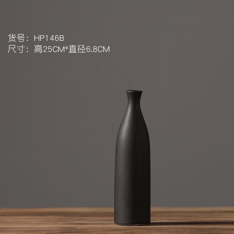 Modern Minimalist BLACK&WHITE Matte Ceramic Vase Fashion Dried Flower Arrangement Flower Holder 58 Creative Soft Decoration