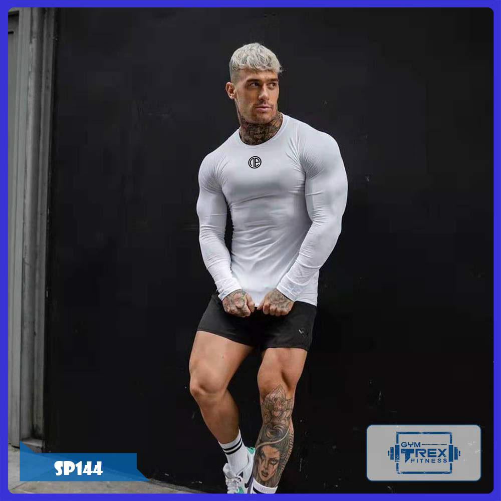 Áo gym nam dài tay T-Rex Shop SP144 - Áo tập gym nam ôm body (Men T-Shirt,đồ tập quần áo gym,Áo thun phông, thể dục,thể hình, tạ, Fitness)