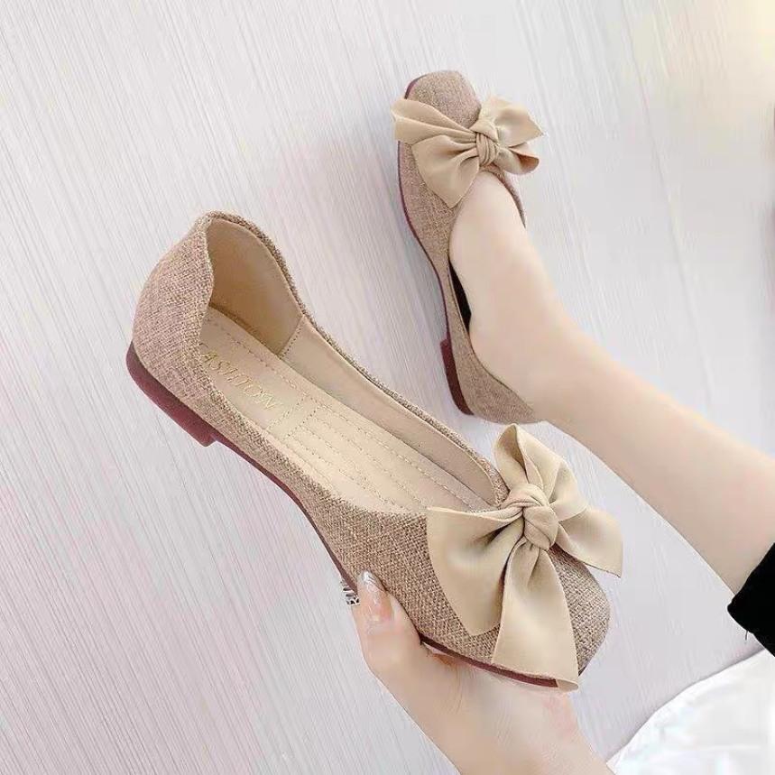 giày búp bê nữ chất dạ thắt nơ bản to cực xinh giá rẻ