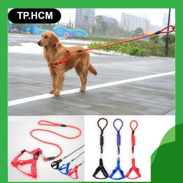 HCM - Dây dắt chó tay cầm sợi tròn kèm yếm ngực (3 màu 4 size) xích chó / xích mèo / dây dắt chó mèo / dây dẫn chó / dây buộc chó