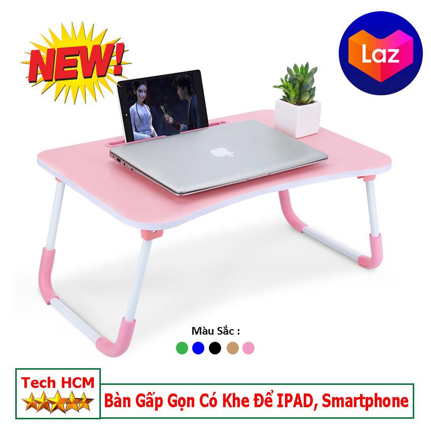 [HCM]Bàn xếp gọn thông có khe để Ipad Smartphone 60x40x28cm thuận tiện học tập làm việc thời công nghệ.