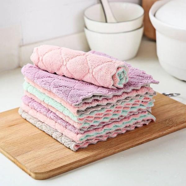 Khăn lau bếp đa năng sét 10 chiếc mềm mại thấm hút tốt, khăn lau đa năng nhà bếp 2 mặt chống dính dầu mỡ nhanh khô
