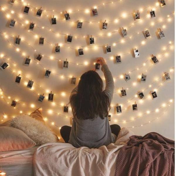 dây đèn led trang trí phòng ngủ 5 mét-màu Vàng không nháy, cắm điện 220V, derco trang trí cho mọi không gian sống