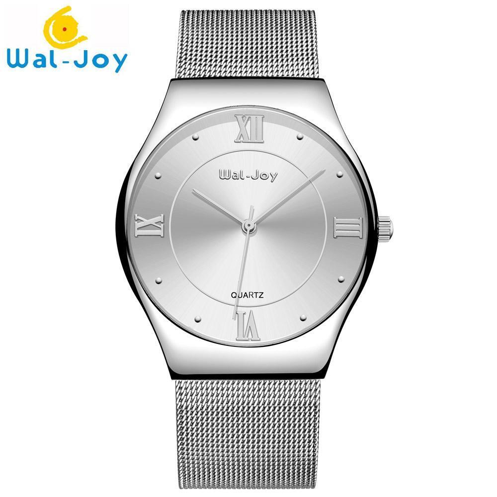 Nơi bán iWATCH-Đồng hồ nam Wal-Joy 8003 dây thép lưới số la mã đính đá IW-WJ8003