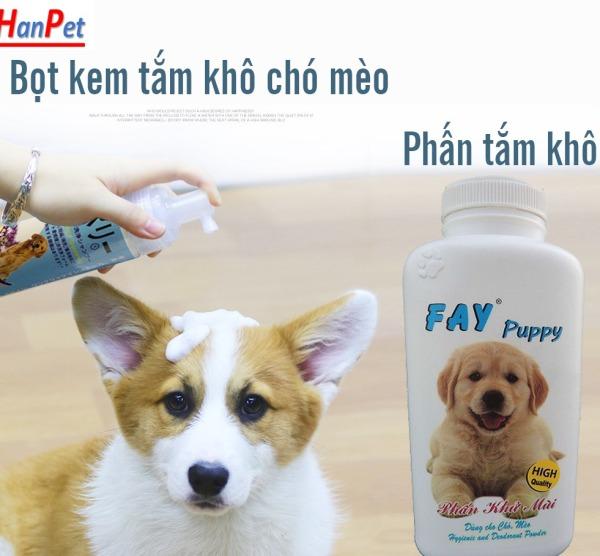 Bọt và Phấn tắm khô chó mèo (3 loại) tặng kèm 1 găng tay nhựa tắm thú cưng FAY KITTY & FAY PUPPY